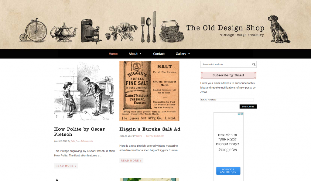 Screenshot of antique pictures blog